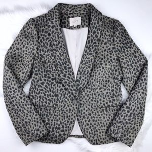 LOFT Grey Snow Leopard Blazer / Jacket